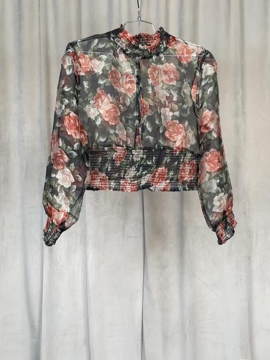 Vintage Floral Sheer Pouf Long Sleeve Blouse With Cutout Detail