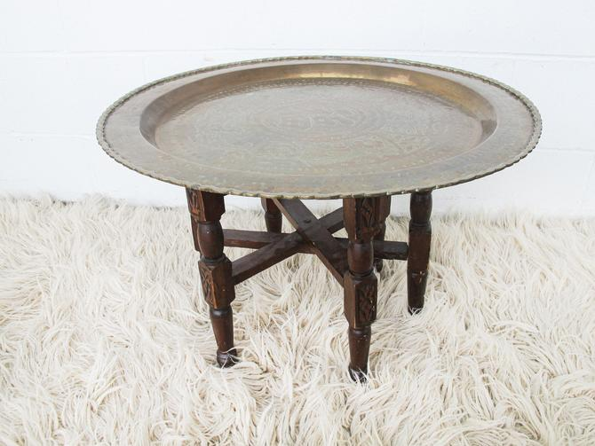 Gorgeous Large Round Vintage Engraved Brass Table Top with Wooden Folding Base by PortlandRevibe