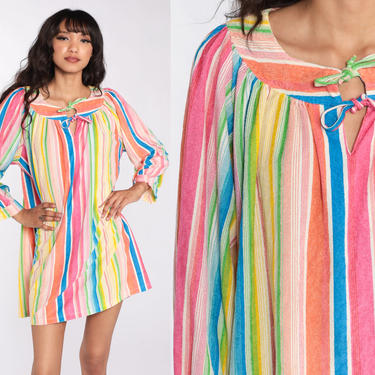 Terry Cloth Dress Boho Mini Rainbow Dress 70s Striped Bohemian Front Zip Tent Lounge Dress Vintage 1970s Minidress Extra Large xl by ShopExile