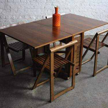 MidCentury Teak DropLeaf Table w/4 Stowaway Chairs