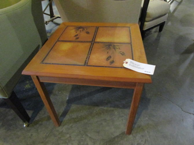 VINTAGE SIDE TABLE WITH TILE TOP