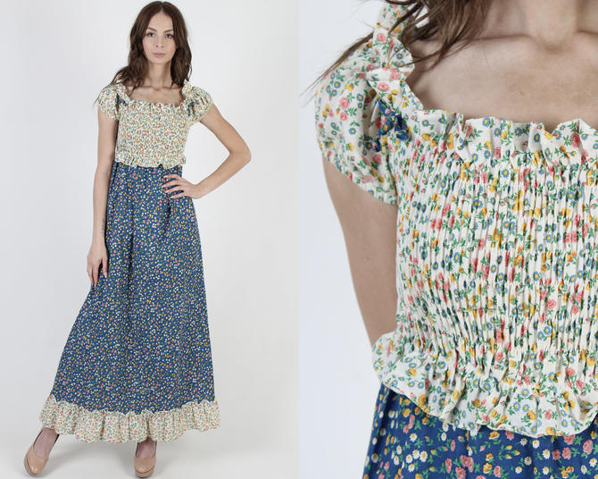 Blue Calico Smocked Bodice / Off The Shoulder Tiny Floral Dress / Stretchy Elastic Bust / Vintage 70s Prairie Garden Tiered Maxi Dress by americanarchive
