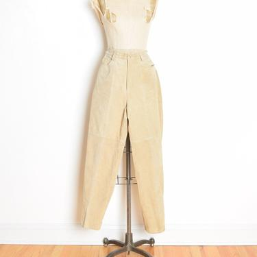 vintage 90s pants beige leather suede high waisted tapered leg trousers M clothing by huncamuncavintage