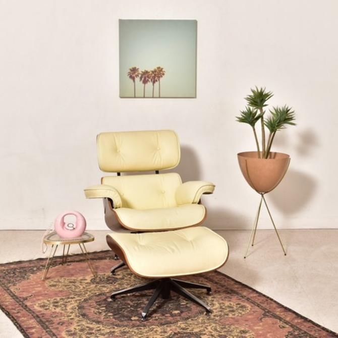 Classic Cream Chair and Ottoman