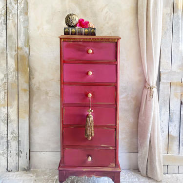Vintage Hot Pink and Gold Lingerie Dresser | Lingerie Chest | Pink Jewelry Armoire by HouseofAalia