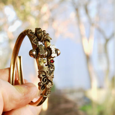 Victorian Gold Filled Clamper Bracelet with Garnets by LegendaryBeast