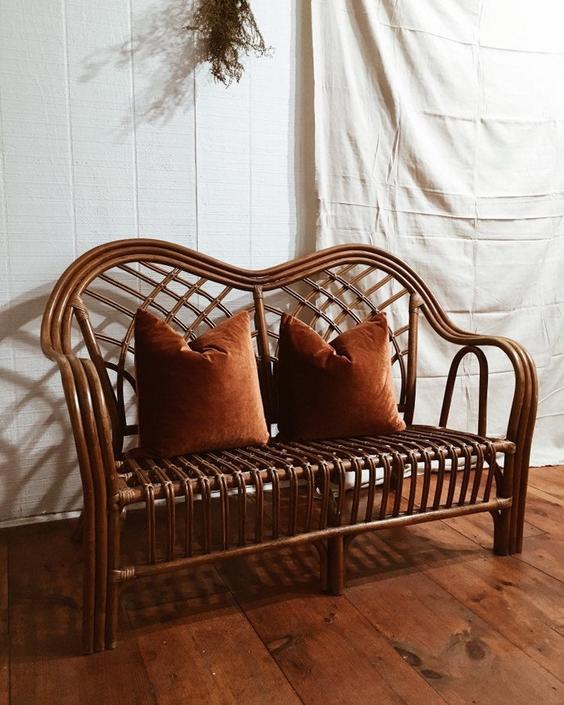 Rattan Settee, Rattan Loveseat, Rattan Sofa, Bamboo Settee, Bamboo Loveseat, Rattan Furniture, Bohemian Settee by VintageandSwoon