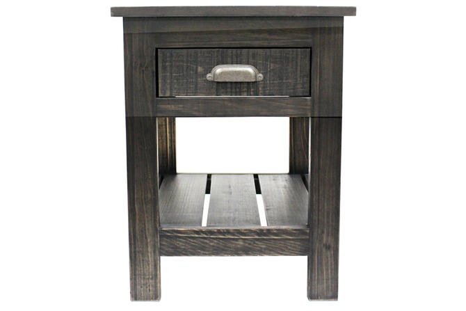 Rustic Style 1 Drawer Side Table - Black Wash by RusticShop1