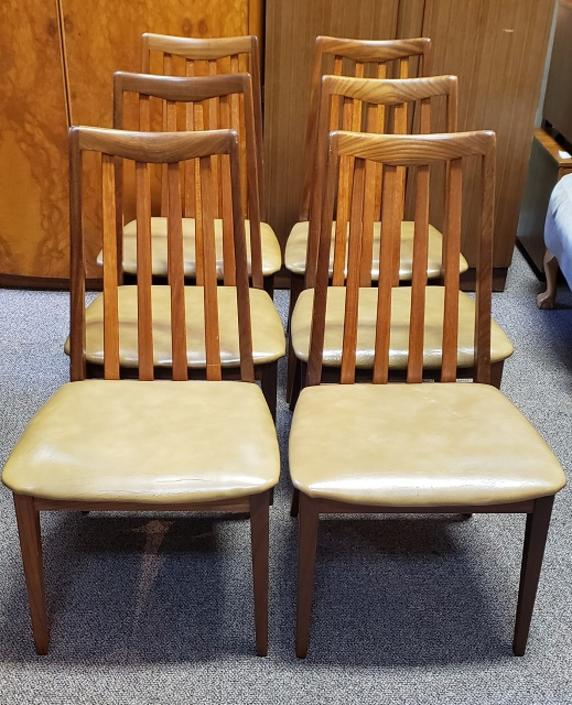 """Item #T27 Set of Six Vintage """"G-Plan"""" Dining Chairs c.1970s"""