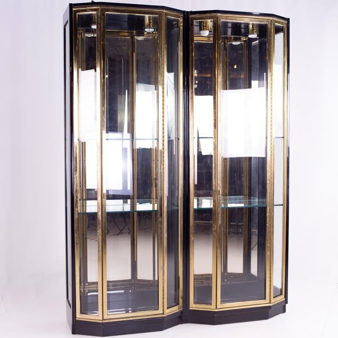 Henredon Black & Brass Mid Century Display Cabinets - Pair - mcm by ModernHill
