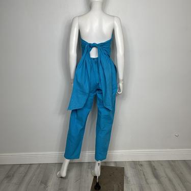 Vtg 80s cotton harem bandeau  one piece jumpsuit SM by AnimalVintageMiami
