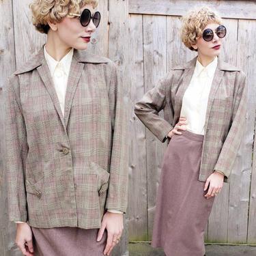 1940s Gray Beige Wool Jacket / 40s Boxy Gabardine Glen Plaid Blazer Fashion Colony Continental Boston / Large / Matilda by RareJuleVintage