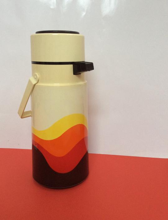 70s Thermos Extra Large, super Graphic, Seventies Rainbow Design by nauhaus