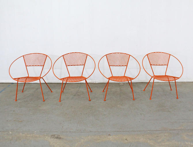 Set of 4 Mid-Century Modern Atomic Salterini Style Metal Outdoor Circle Hoop Chairs by AnnexMarketplace