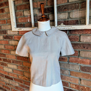 Vintage 1940's/50's Peter Pan Collar Button Back Short Sleeve Gray Shirt by BeesKneesVintageDC