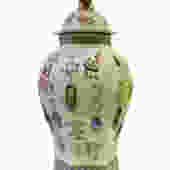 Chinese Light Green Dimensional Color Graphic Hexagon Porcelain Jar cs1486E by GoldenLotusAntiques