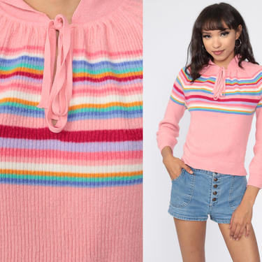 Pink Rainbow Sweater 70s Striped Knit Jumper Pullover Ski Slouchy 1970s Boho Slouch Vintage Retro Raglan Sleeve Bohemian Small by ShopExile