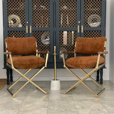 MCM mid century modern brass and wood directors chairs set by McKennaDesignCompany