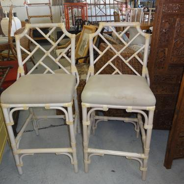 Pair of Rattan Chippendale Bar Stool