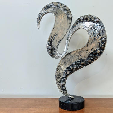 Abstract Brutalist Cast Aluminum Sculpture in the Style of Curtis Jere by XcapeVintage