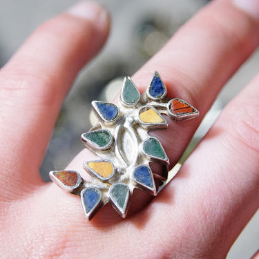 Vintage Colorful Multi-Stone Sterling Silver Ring, Malachite, Lapis, Red Jasper, Yellow Stone Inlaid Ring, Teardrop Setting, Size 7.5 US by shopGoodsVintage