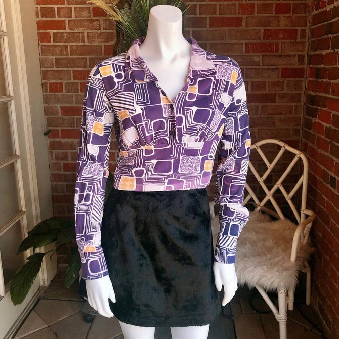 1970s Kennington Cropped Purple Polyester Shirt