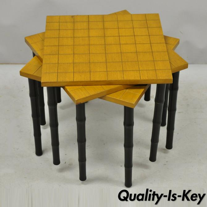 Set of 3 Vintage Faux Bamboo Mid Century Modern Nesting Snack Side Tables