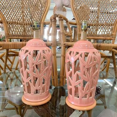 Pair of Blush Faux Bamboo Lamps