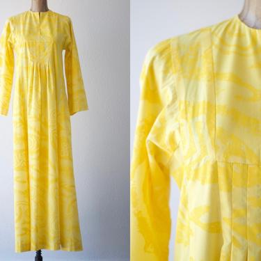 60s Vintage HAWAIIAN Dress Lemon Yellow Tiki Kaftan by TAHITI IMPORTS Muumuu Maxi Pleated Bodice Bell Sleeve Slit Tribal Cotton Luau Wedding by MOBIUSMOD