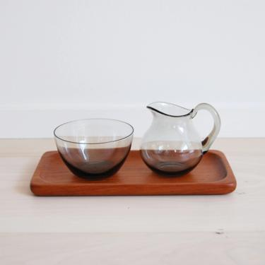 Vintage Scandinavian Modern Sowe Sovestad Smoked Grey Glass Milk and Sugar Containers with Teak Tray by MidCentury55