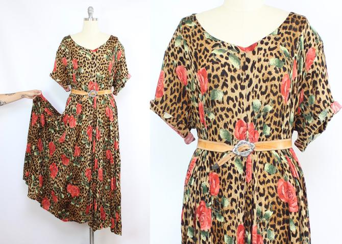 Vintage 90's Gauze Rayon Animal Print and Rose Midi Dress / 1990's Crinkly Rayon Summer Dress / Women's Plus Size 1X 2X 3X by RubyThreadsVintage