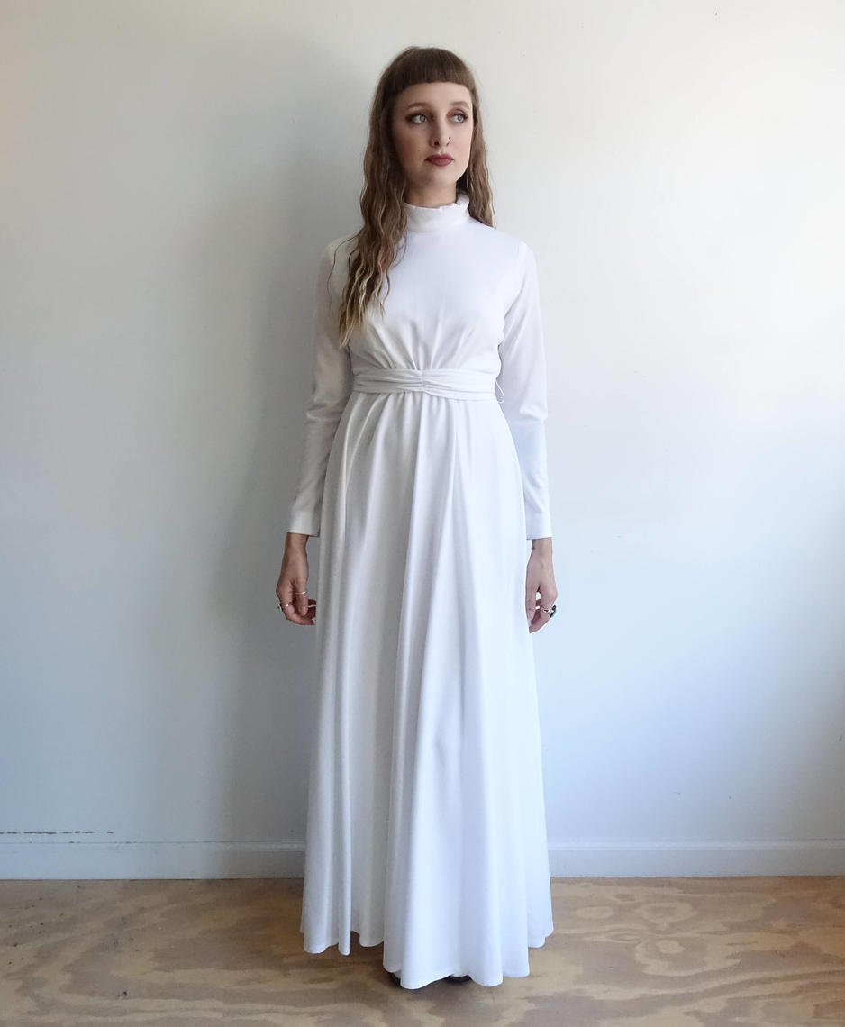Vintage 70s House Of Bianchi White Maxi Dress/Floor Length