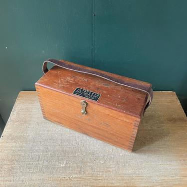 Vintage 1940s Finger Jointed Wooden Toolbox Crate Lid with Leather Handle Mid-Century Box Work Craftsman Berger Industrial by BrainWashington
