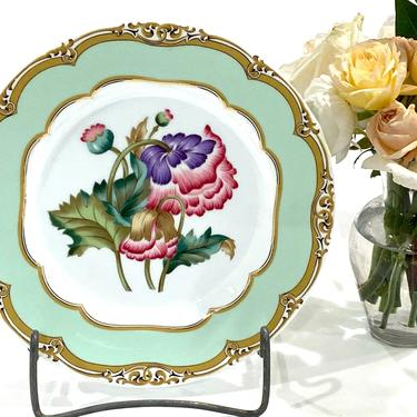 Andrea by Sadek Winterthur James Polk Adaptation Porcelain Dessert Plate With Pink Flowers & Green and Gold Border by DressingVintage