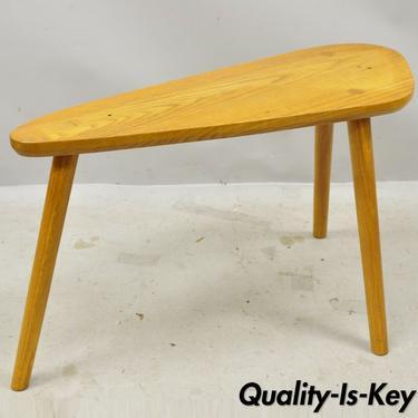 Mid Century Danish Modern Tripod Birch Oak Wood Bench Side Accent Table
