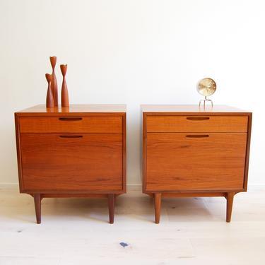 Pair of Danish Modern Ib Kofod Larsen Teak Nightstands Brande Mobelfabrik Made in Denmark by MidCentury55