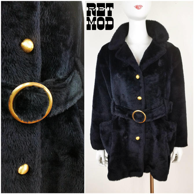 1684e4a915da4 Vintage 70s Black Faux Fur Hippie Jacket Coat with Brass Buttons ...