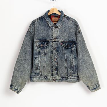 80s Levi's Buffalo Plaid Flannel Lined Jean Jacket - Extra Large | Vintage Unisex Made In USA Acid Wash Denim Trucker Jacket by FlyingAppleVintage