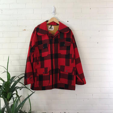 80s 90s Woolrich Red and Black Plaid Wool Coat / Heavy Fleece-Lined Classic Hunting Jacket / Size 48 Chest by AmericanDrifter
