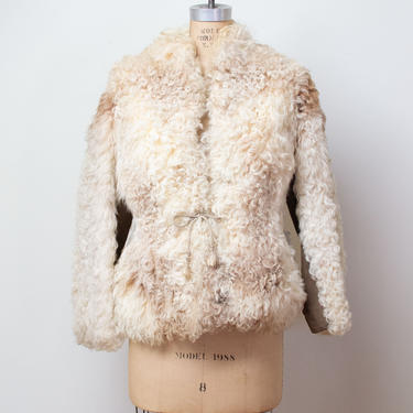1970s Mongolian Lamb Fur Coat / 70s Curly Lamb Cropped Jacket by FemaleHysteria