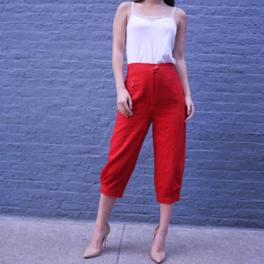 1970s Wool Capris | Women's Cropped Pans | Size 6 Pants | High Waisted Pants | Retro Red Pants | by HamletsVintage