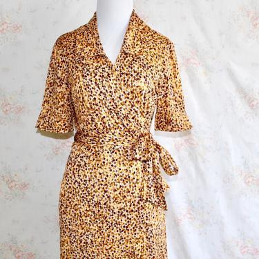 Vintage 90s Diane Von Furstenberg Dress, 1990s Wrap Dress, Silk Dress, Geometric Print Dress, Iconic, Sz 12 by WildwoodVintage