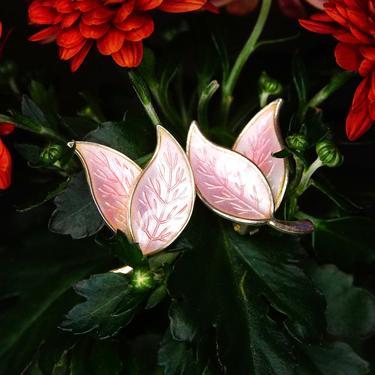 "Vintage Meka Denmark Gilt Sterling Silver Guilloche Enamel Leaf Clip On Earrings, Pastel Pink Enamel, Double Leaf Design, 1 3/8"" L by shopGoodsVintage"
