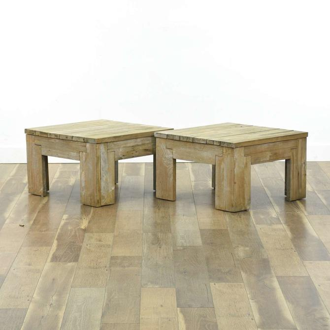 Pair Of Teak Outdoor Deck End Tables