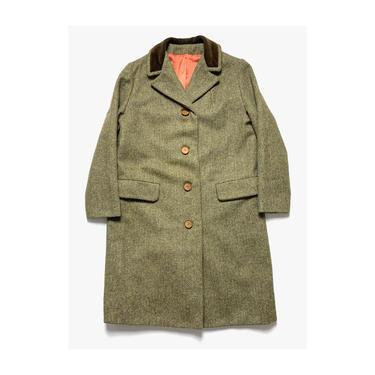 Vintage 1950s Women's WOOL TWEED Overcoat ~ size S ~ Herringbone ~ Jacket / Trench Coat / Swing ~ Herringbone ~ 50s by SparrowsAndWolves