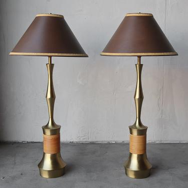 Pair of Brass and Wicker Table Lamps by Tony Paul by AgedModern