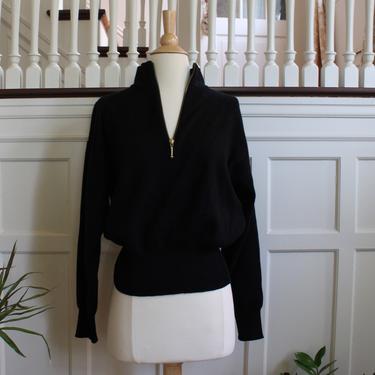 Vintage Meister Half Zip Mock Neck Black Wool Blend Sweater Women's Size S M by NeonSkyVintageMN