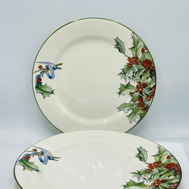 """Vintage set (2) of Gien France 10"""" Dinner Plates Le Houx--Holly w/Berries and Ribbons- Great Condition by JoAnntiques"""