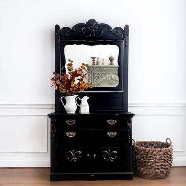 Antique Dresser with Mirror. Eastlake Furniture. Victorian Chest of Drawers. Black Painted Washstand. Farmhouse Bedroom Storage by AminiDesignAshburn