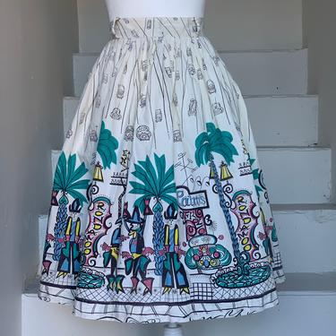 Late 1950s Saul Steinberg Tin Horn Holiday Novelty Print Skirt Small Vintage by AmalgamatedShop